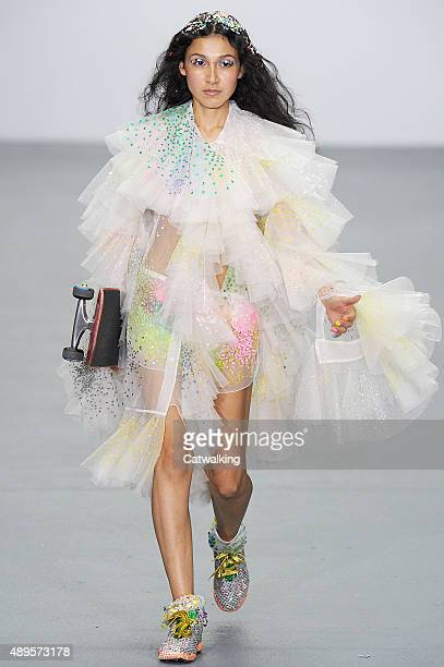 A model walks the runway at the Ashish Spring Summer 2016 fashion show during London Fashion Week on September 22 2015 in London United Kingdom