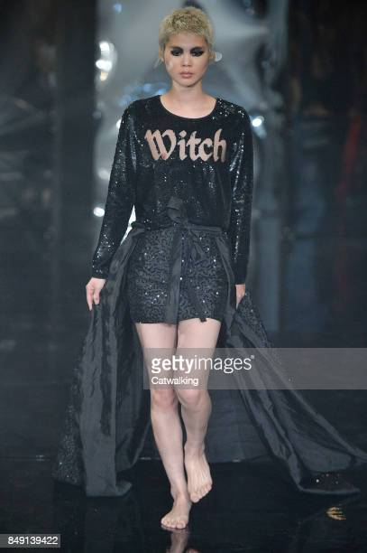 A model walks the runway at the Ashish Spring Summer 2018 fashion show during London Fashion Week on September 18 2017 in London United Kingdom