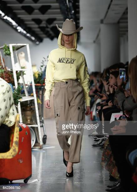 A model walks the runway at the Ashley Williams show during the London Fashion Week February 2017 collections on February 17 2017 in London England