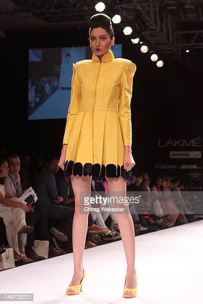 A model walks the runway at the Astha Sethi Sidharth Arora show at The Lakme Fashion Week Winter/Festive 2012 Day 1 at the Grand Hyatt on August 3...
