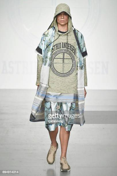 A model walks the runway at the Astrid Andersen Show Spring Summer 2018 fashion show during London Menswear Fashion Week on June 11 2017 in London...