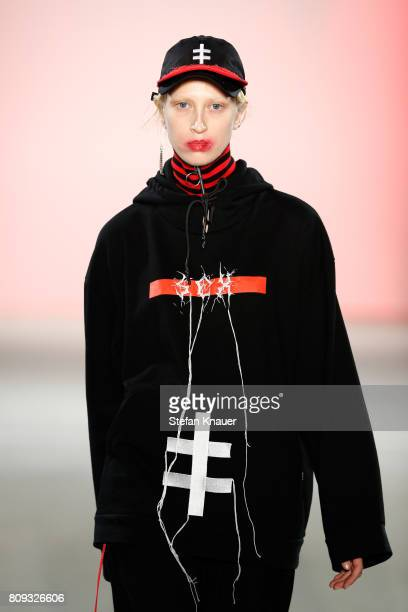 A model walks the runway at the Atelier About show during the MercedesBenz Fashion Week Berlin Spring/Summer 2018 at Kaufhaus Jandorf on July 5 2017...