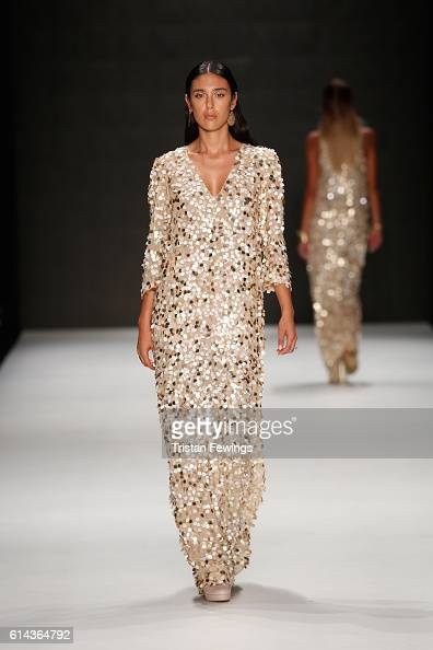 A model walks the runway at the Atil Kutoglu show during MercedesBenz Fashion Week Istanbul at Zorlu Center on October 13 2016 in Istanbul Turkey