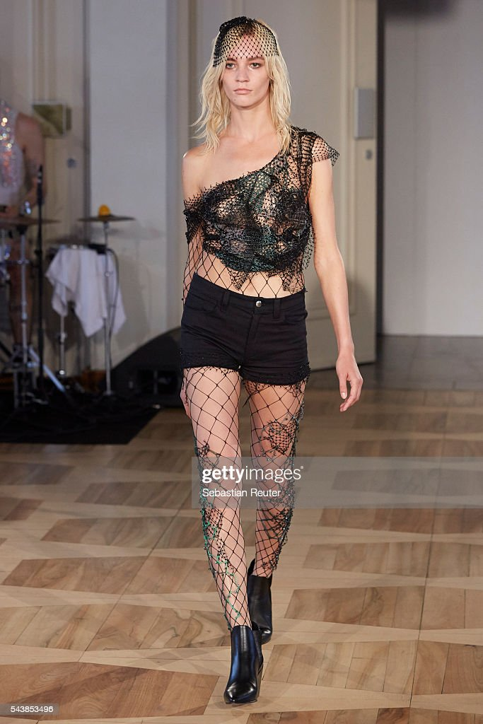 A model walks the runway at the Augustin Teboul show during the Mercedes-Benz Fashion Week Berlin Spring/Summer 2017 at Kronprinzenpalais on June 30, 2016 in Berlin, Germany.