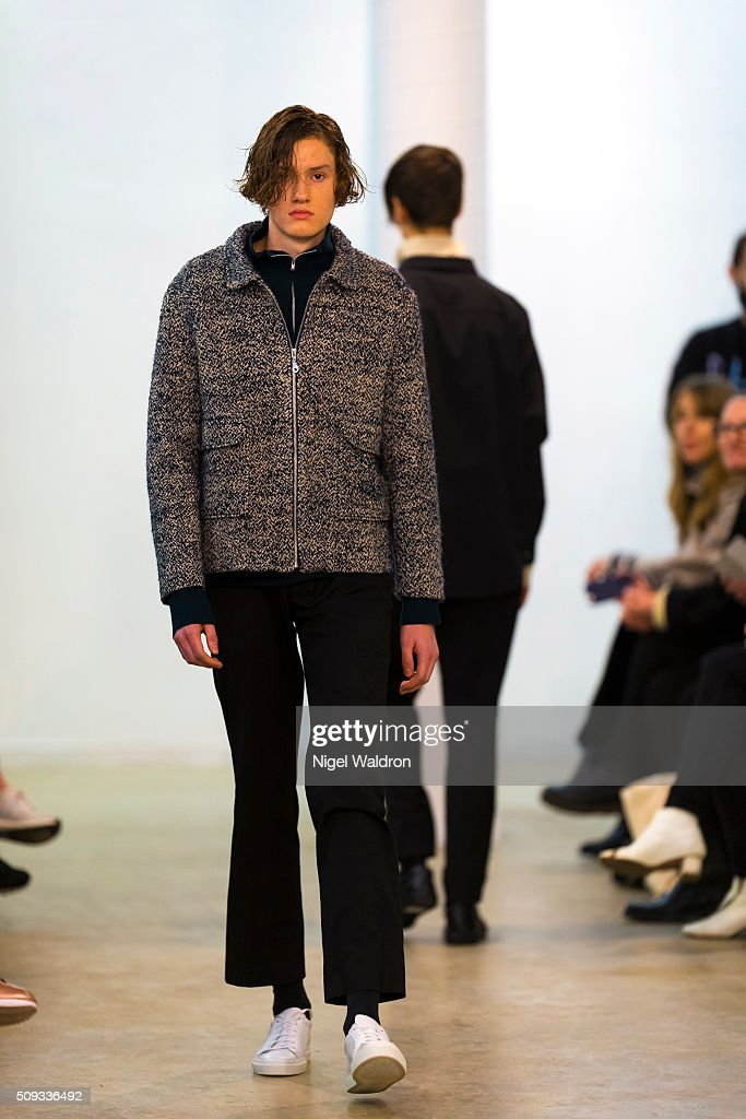 A model walks the runway at the AUMA/ GRAA / Arct / Christina Ledang show during the Fashion Week Oslo Autumn/Winter 2016/2017 at the F5 Showcase Oslo on February 10, 2016 in Oslo, Norway.