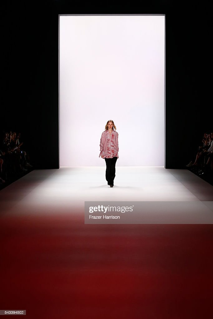 A model walks the runway at the Avelon show during the Mercedes-Benz Fashion Week Berlin Spring/Summer 2017 at Erika Hess Eisstadion on June 28, 2016 in Berlin, Germany.