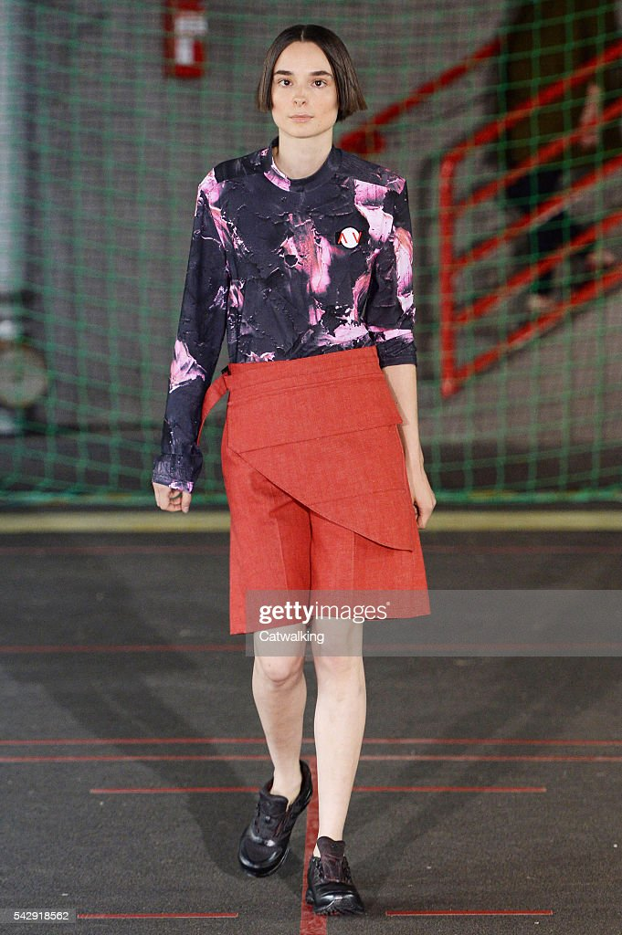 A model walks the runway at the Avoc Spring Summer 2017 fashion show during Paris Menswear Fashion Week on June 25, 2016 in Paris, France.