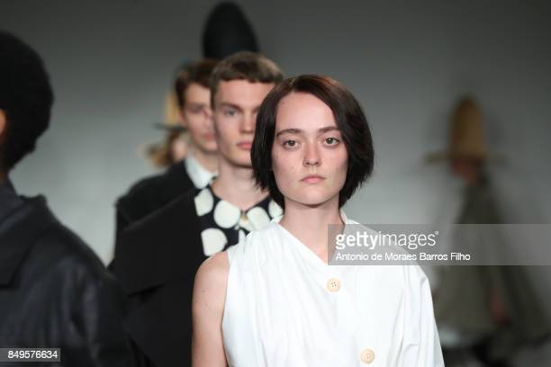 A model walks the runway at the AWAKE show during London Fashion Week September 2017 on September 19 2017 in London England