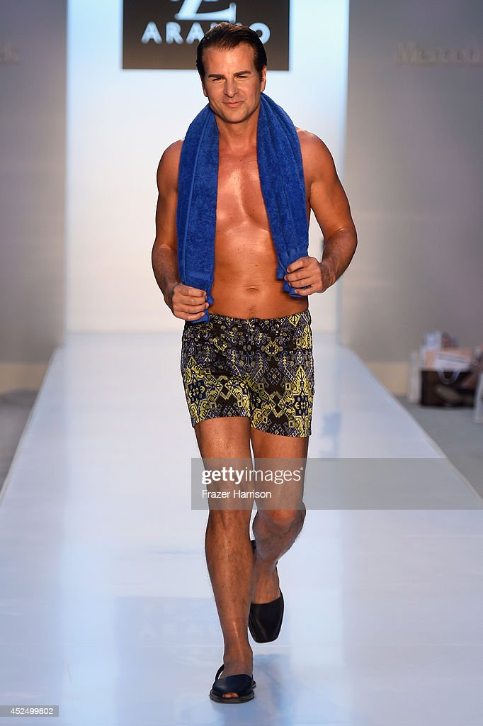 A model walks the runway at the A.Z Araujo show during Mercedes-Benz Fashion Week Swim 2015 at The Raleigh on July 21, 2014 in Miami Beach, Florida.