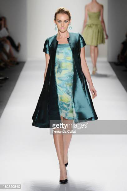 A model walks the runway at the B Michael America fashion show during MercedesBenz Fashion Week Spring 2014 at The Studio at Lincoln Center on...