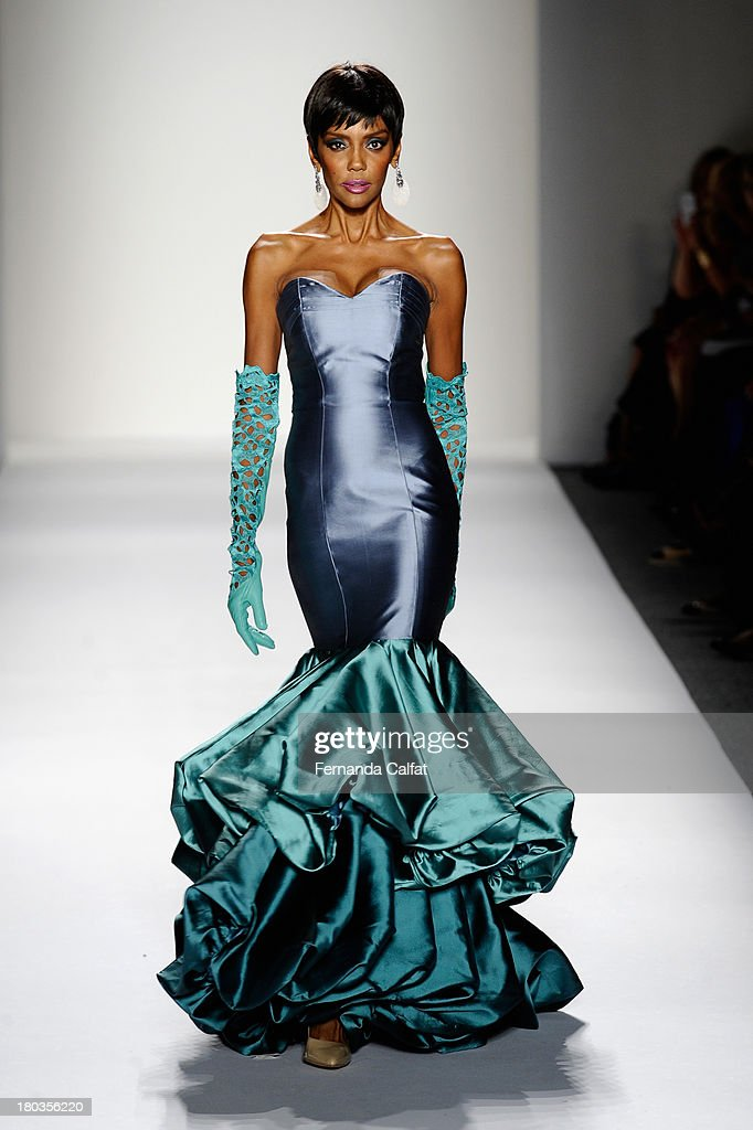 A model walks the runway at the B Michael America fashion show during Mercedes-Benz Fashion Week Spring 2014 on September 11, 2013 in New York City.