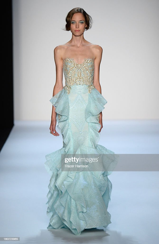 A model walks the runway at the Badgley Mischka fashion show during Mercedes-Benz Fashion Week Spring 2014 on September 10, 2013 in New York City.