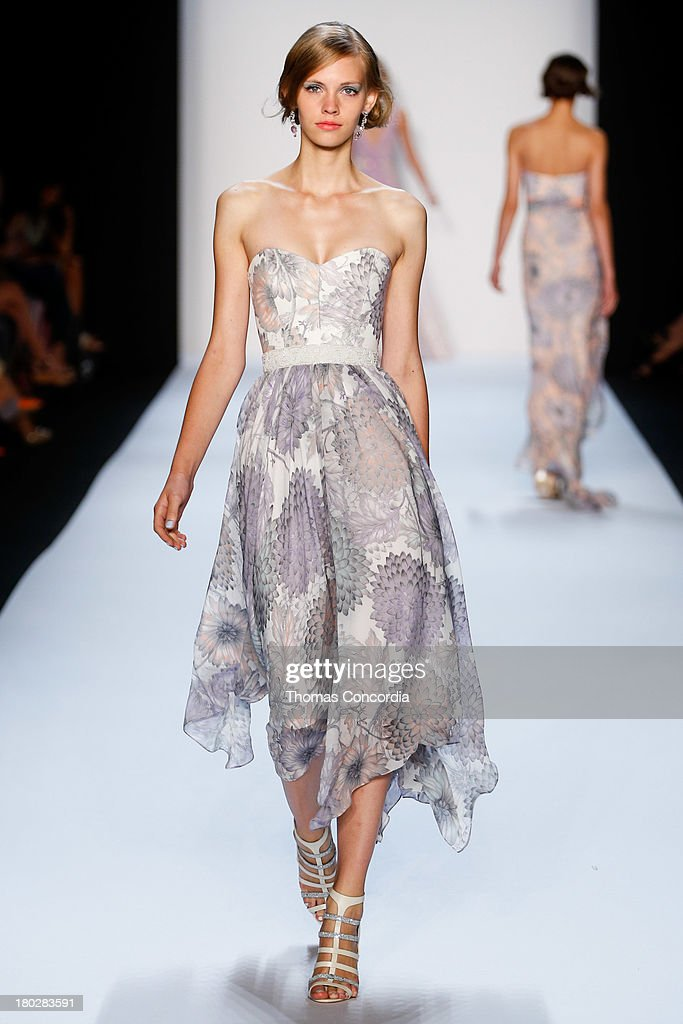 A model walks the runway at the Badgley Mischka show during Spring 2014 Mercedes-Benz Fashion Week at The Theatre at Lincoln Center on September 10, 2013 in New York City.