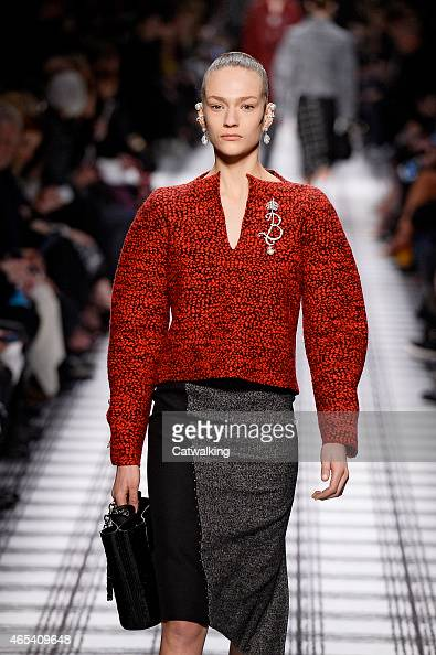A model walks the runway at the Balenciaga Autumn Winter 2015 fashion show during Paris Fashion Week on March 6 2015 in Paris France