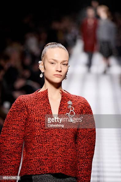 A model walks the runway at the Balenciaga Autumn Winter 2015 fashion show during Paris Fashion Week on March 6 2015 in Paris France