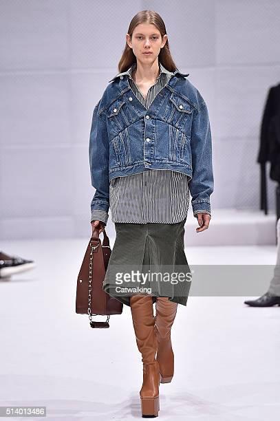 A model walks the runway at the Balenciaga Autumn Winter 2016 fashion show during Paris Fashion Week on March 6 2016 in Paris France