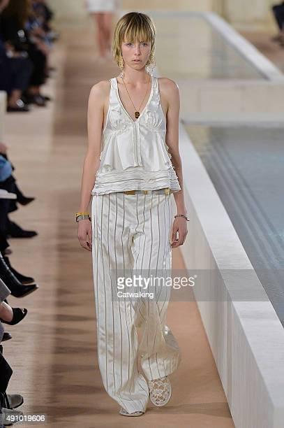 A model walks the runway at the Balenciaga Spring Summer 2016 fashion show during Paris Fashion Week on October 2 2015 in Paris France