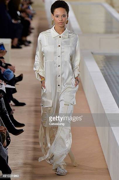A model walks the runway at the Balenciaga Spring Summer 2016 fashion show during Paris Fashion Week on October 2 2015 in Paris France