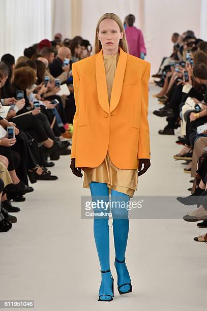 A model walks the runway at the Balenciaga Spring Summer 2017 fashion show during Paris Fashion Week on October 2 2016 in Paris France