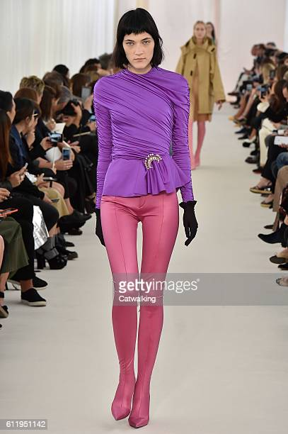 A model walks the runway at the Balenciaga Spring Summer 2017 fashion show during Paris Fashion Week on October 2 2016 in Paris France