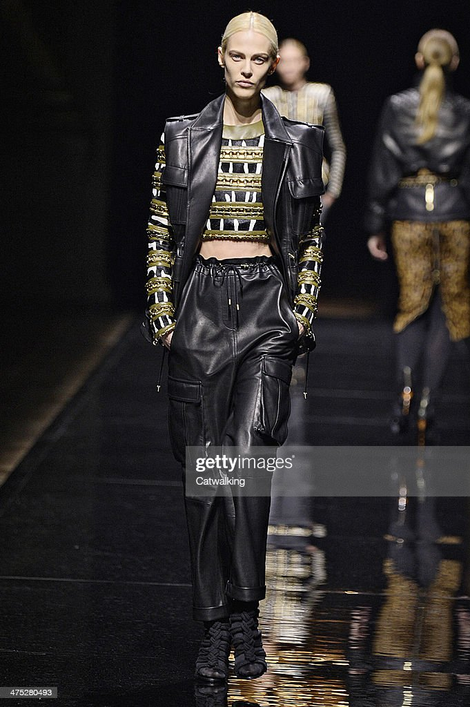 A model walks the runway at the Balmain Autumn Winter 2014 fashion show during Paris Fashion Week on February 27, 2014 in Paris, France.
