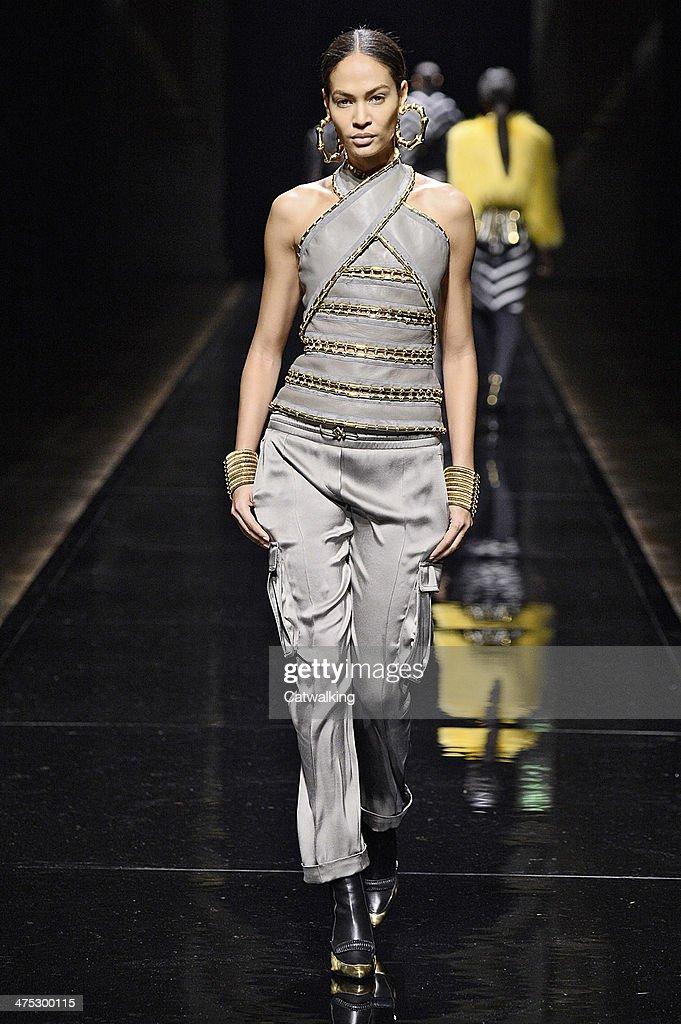 A model walks the runway at the Balmain Autumn Winter 2014 fashion show during Paris Fashion Week on February 27, 2014 in Paris, France.