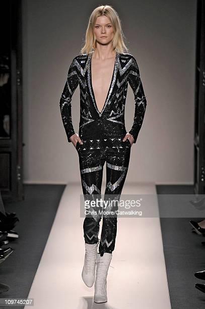 A model walks the runway at the Balmain fashion show during Paris Fashion Week on March 3 2011 in Paris France