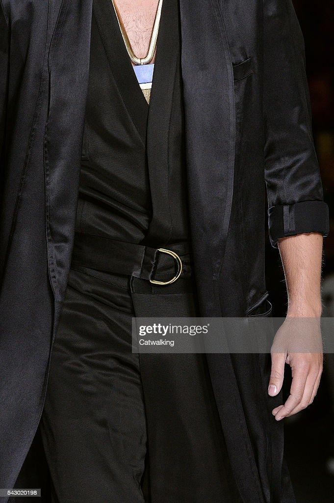 A model walks the runway at the Balmain Homme Spring Summer 2017 fashion show during Paris Menswear Fashion Week on June 25, 2016 in Paris, France.