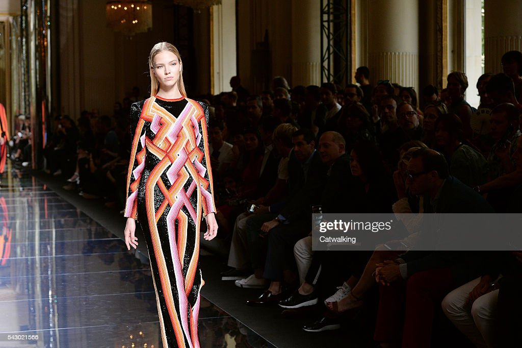 A model walks the runway at the Balmain Homme Spring Summer 2017 fashion show during Paris Menswear Fashion Week on June 25, 2016 in Paris, France.