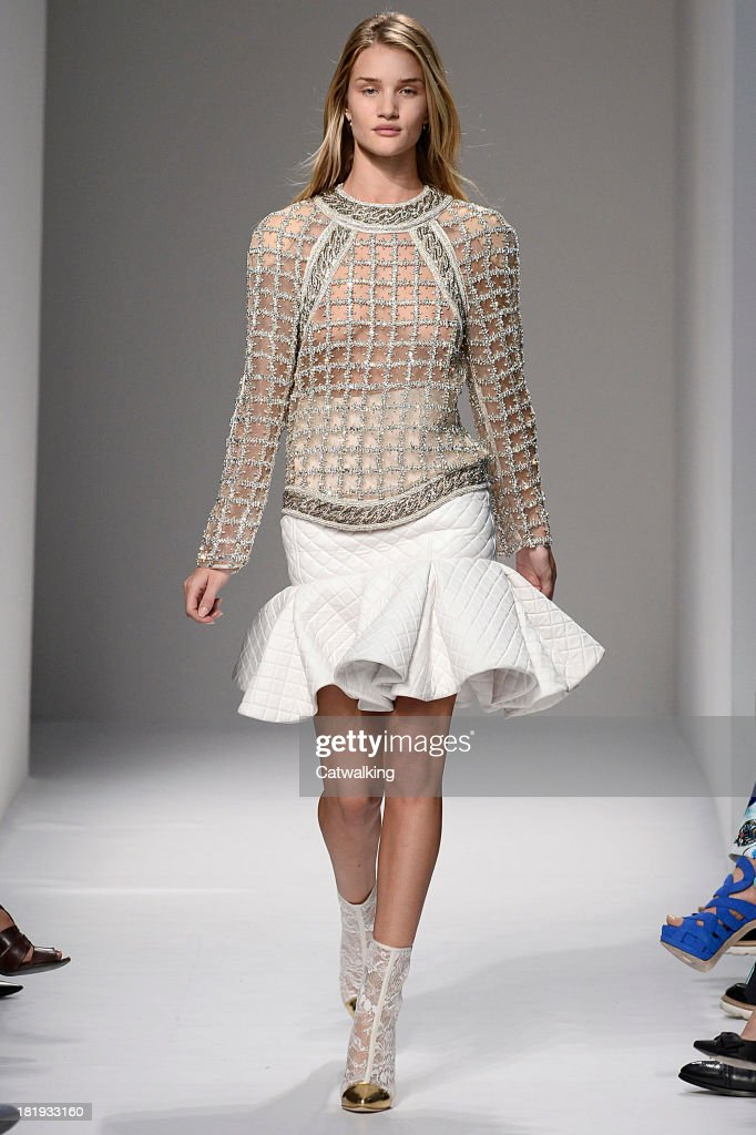 A model walks the runway at the Balmain Spring Summer 2014 fashion show during Paris Fashion Week on September 26, 2013 in Paris, France.
