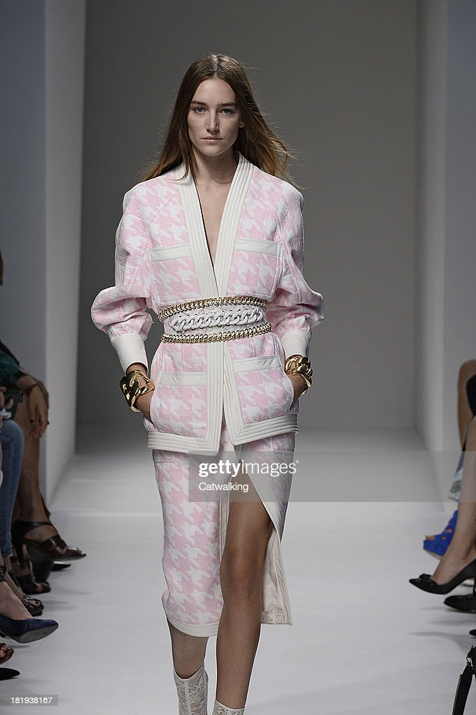 A model walks the runway at the Balmain Spring Summer 2014 fashion show during Paris Fashion Week on September 26, 2013 in Paris, France.