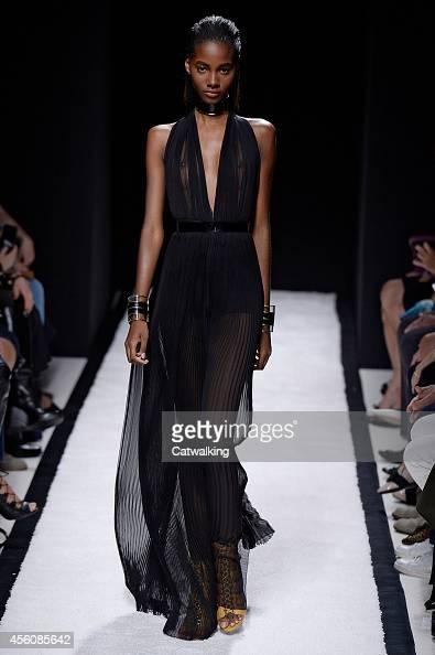 A model walks the runway at the Balmain Spring Summer 2015 fashion show during Paris Fashion Week on September 25 2014 in Paris France