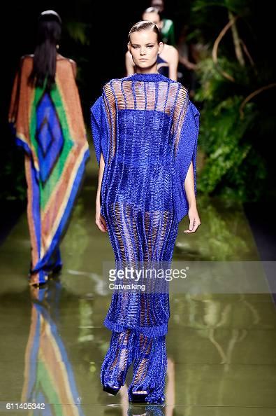 A model walks the runway at the Balmain Spring Summer 2017 fashion show during Paris Fashion Week on September 29 2016 in Paris France