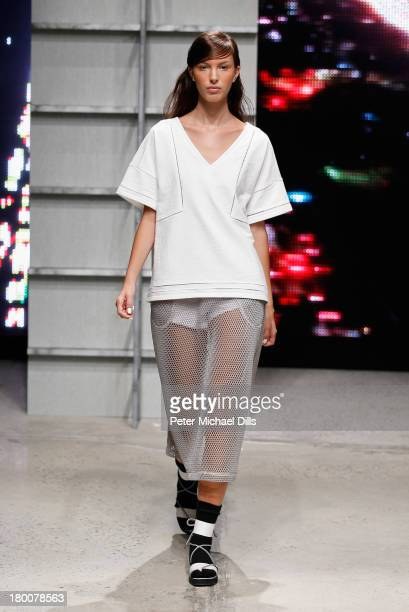 A model walks the runway at the Band Of Outsiders Women's fashion show during MercedesBenz Fashion Week Spring 2014 on September 8 2013 in New York...