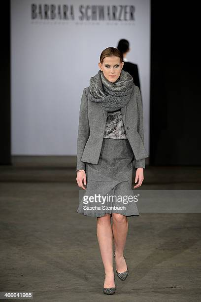 A model walks the runway at the Barbara Schwarzer fashion show during Platform Fashion Dusseldorf on February 2 2014 in Dusseldorf Germany