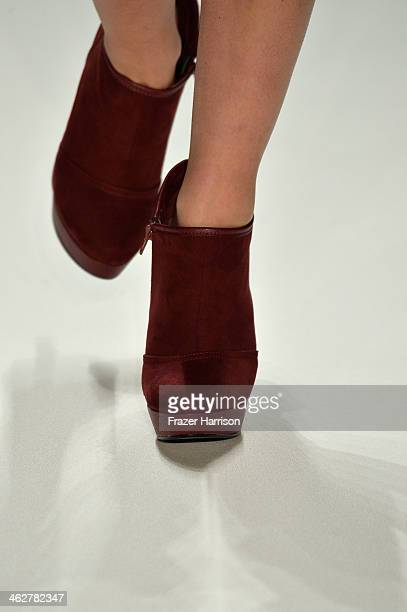 A model walks the runway at the Barre Noire Show during MercedesBenz Fashion Week Autumn/Winter 2014/15 at Brandenburg Gate on January 15 2014 in...
