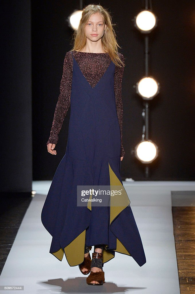 A model walks the runway at the BCBG Autumn Winter 2016 fashion show during New York Fashion Week on February 11 2016 in New York United States