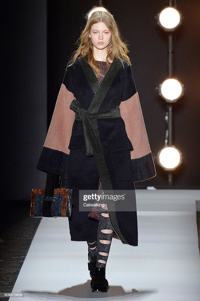 A model walks the runway at the BCBG Autumn Winter 2016 fashion show during New York Fashion Week on February 11, 2016 in New York, United States.