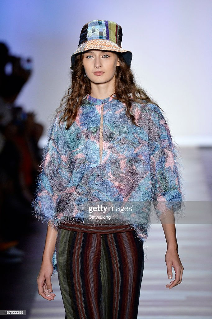 A model walks the runway at the BCBG Spring Summer 2016 fashion show during New York Fashion Week on September 10 2015 in New York United States