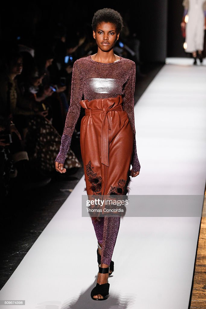 A model walks the runway at the BCBGMAXAZRIA Fall 2016 fashion show during New York Fashion Week at The Arc, Skylight at Moynihan Station on February 11, 2016 in New York City.