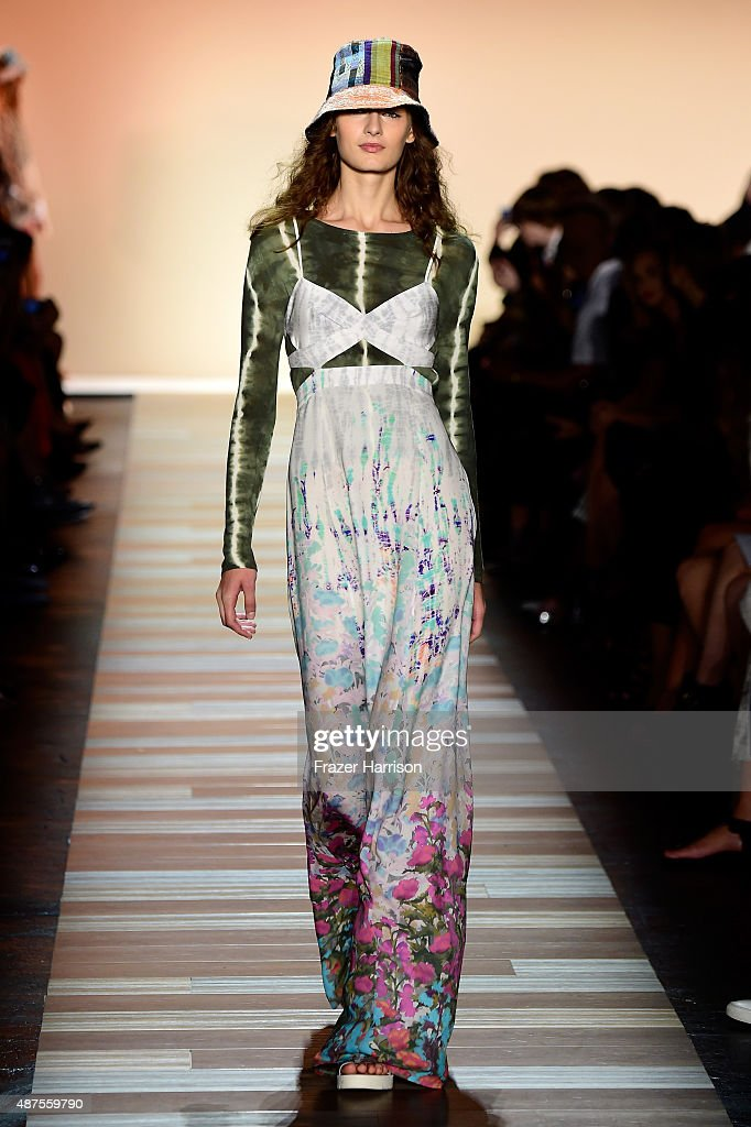 A model walks the runway at the BCBGMAXAZRIA fashion show during Spring 2016 New York Fashion Week The Shows at The Arc Skylight at Moynihan Station...