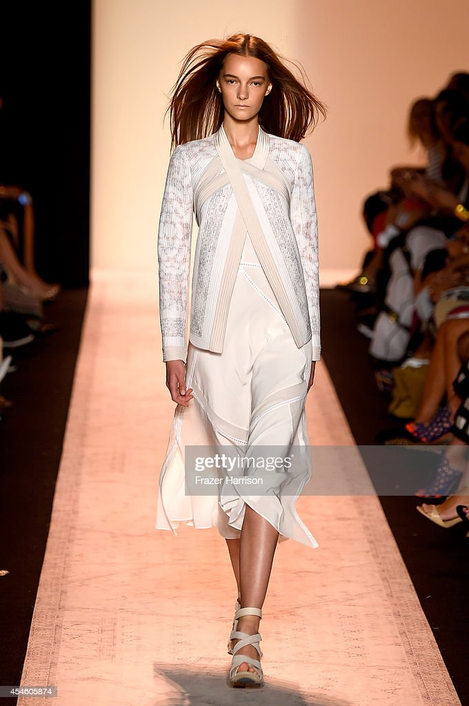 A model walks the runway at the BCBGMAXAZRIA fashion show during MercedesBenz Fashion Week Spring 2015 at The Theatre at Lincoln Center on September...