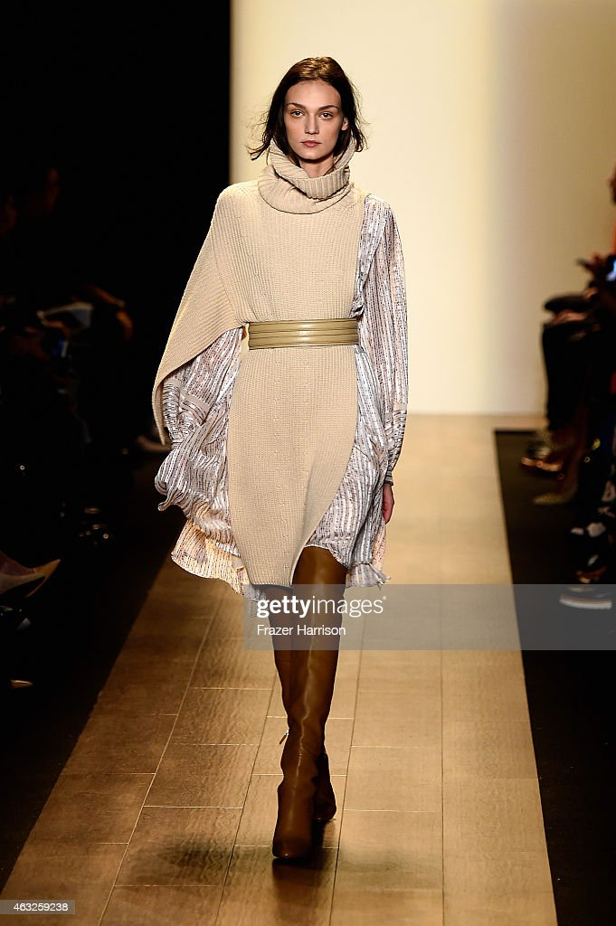 A model walks the runway at the BCBGMAXAZRIA fashion show during MercedesBenz Fashion Week Fall 2015 at The Theatre at Lincoln Center on February 12...