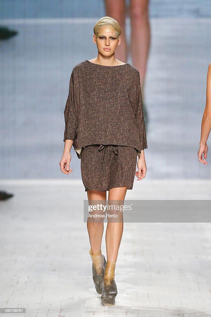 A model walks the runway at the Berenik show during Mercedes-Benz Fashion Days Zurich 2013 on November 16, 2013 in Zurich, Switzerland.