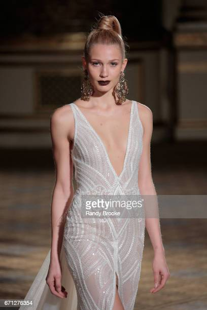 A model walks the runway at the Berta Runway show during New York Fashion Week Bridal April 2017 at The Plaza Hotel on April 21 2017 in New York City
