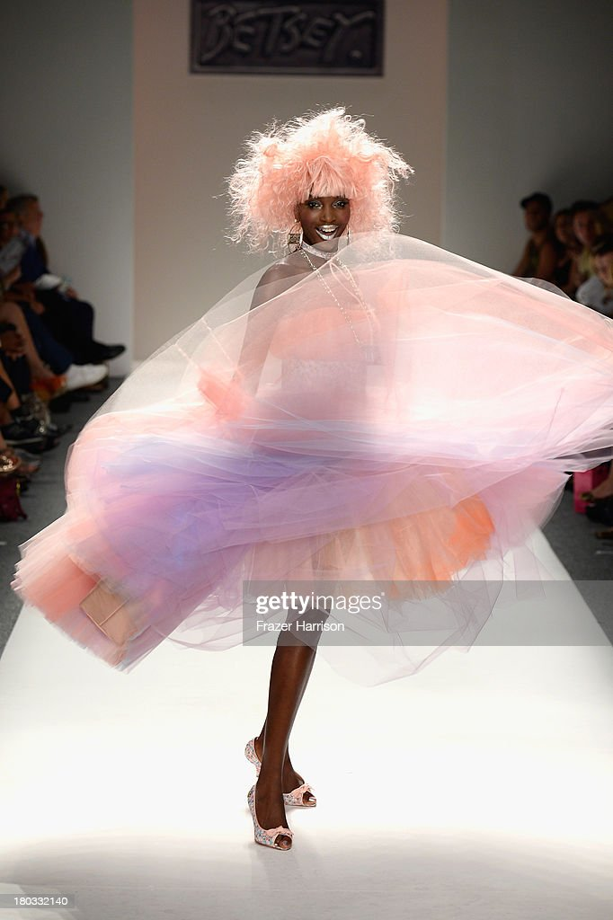 A model walks the runway at the Betsey Johnson fashion show during Mercedes-Benz Fashion Week Spring 2014 at The Studio at Lincoln Center on September 11, 2013 in New York City.