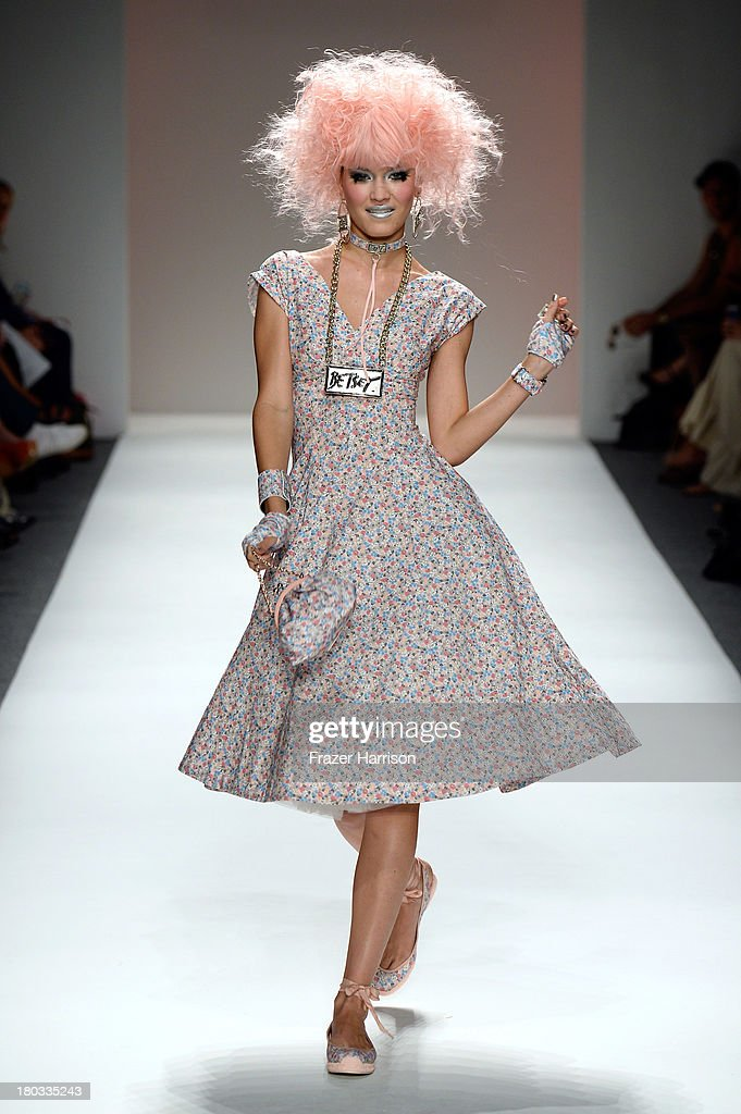 A model walks the runway at the Betsey Johnson fashion show during Mercedes-Benz Fashion Week Spring 2014 on September 11, 2013 in New York City.