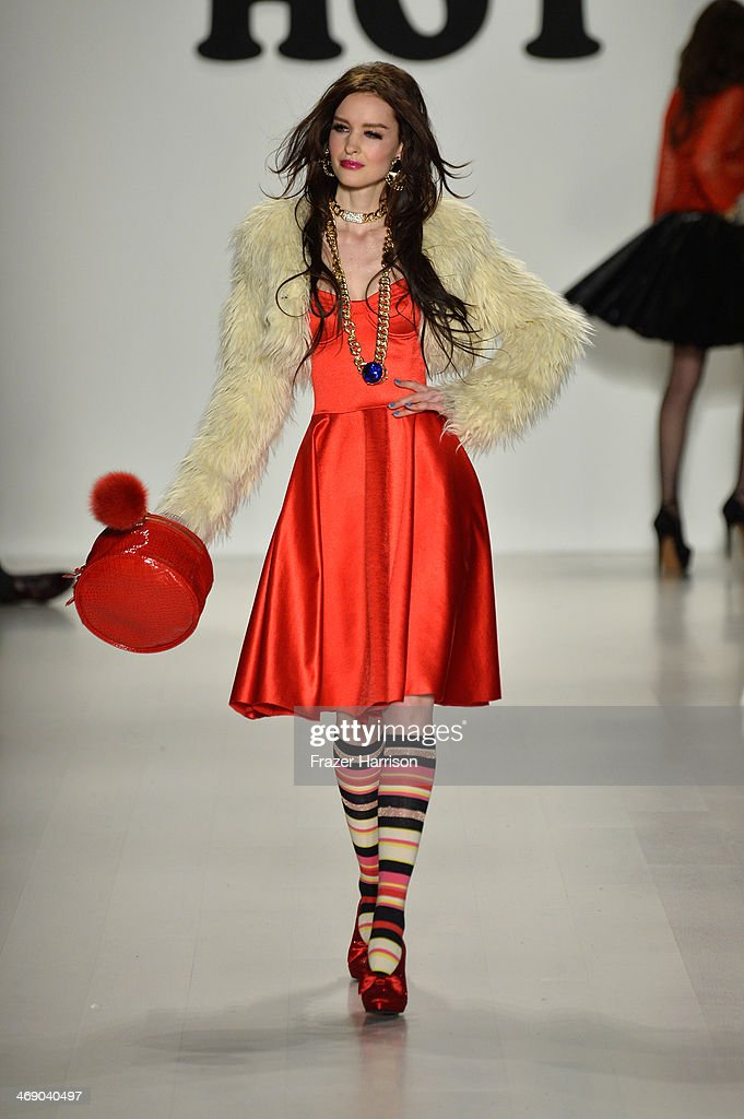 A model walks the runway at the Betsey Johnson fashion show during Mercedes-Benz Fashion Week Fall 2014 at Lincoln Center on February 12, 2014 in New York City.