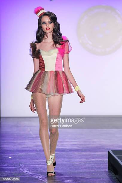 A model walks the runway at the Betsey Johnson fashion show during Spring 2016 New York Fashion Week The Shows at The Arc Skylight at Moynihan...