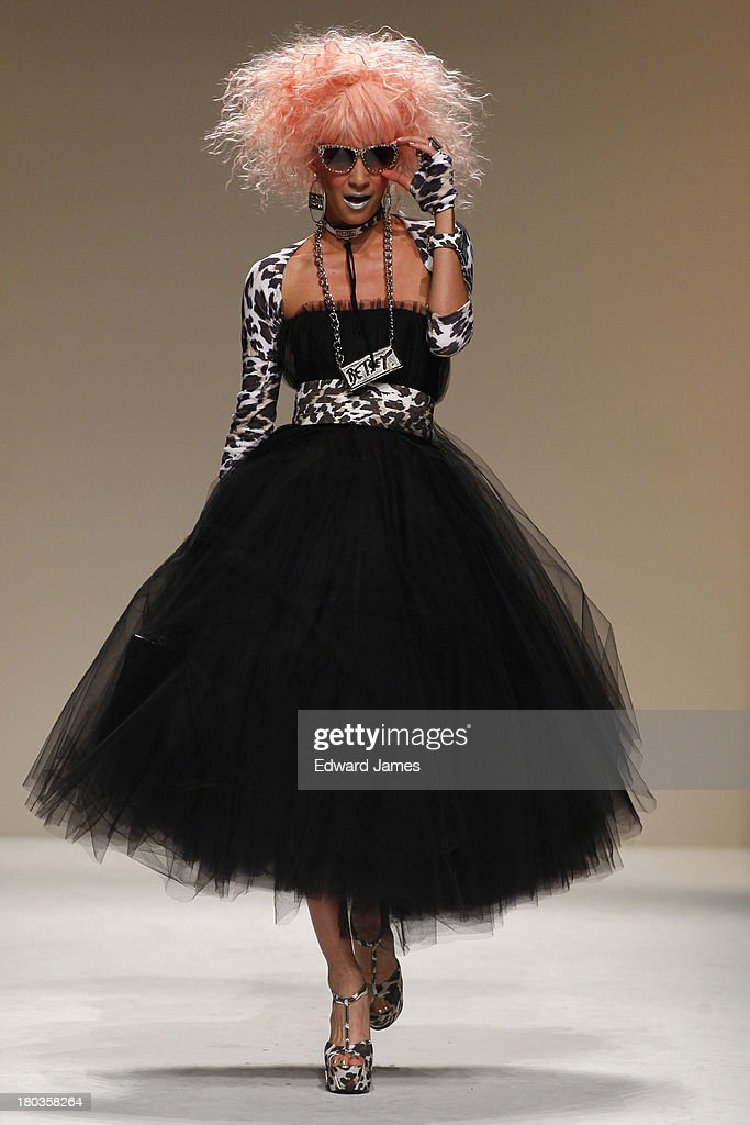 A model walks the runway at the Betsey Johnson show during Spring 2014 Mercedes-Benz Fashion Week at The Studio at Lincoln Center on September 11, 2013 in New York City.